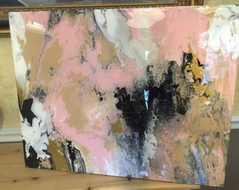 SOLD! Original acrylic pour painting with pink, white, tan, gold, black, and resin coating to finish