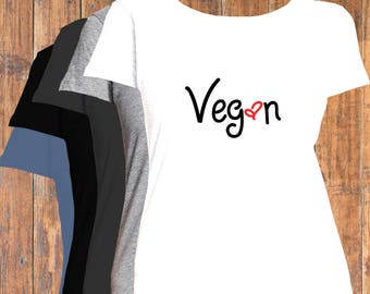 Vegan with a heart, Women Flattering Fit T-Shirt, Mens also available