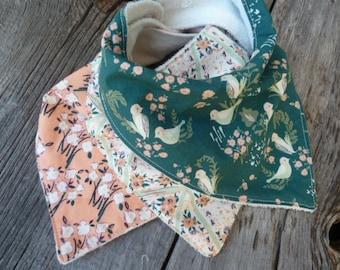 Baby bandana bibs, Organic baby bib, Organic bandana bib, Baby girl bandana, Organic drool bib, Modern bib, Baby birds, baby girl gift