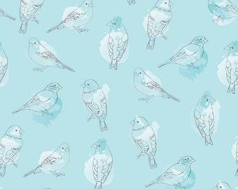 Riley Blake, Desert Bloom by Amanda Herring, Desert Bird Blue, C5354, fabric by the yard