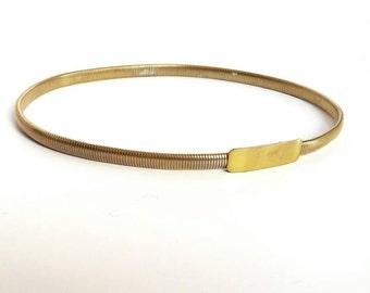 Vintage Gold Tone Metal Stretch Waist Belt - small