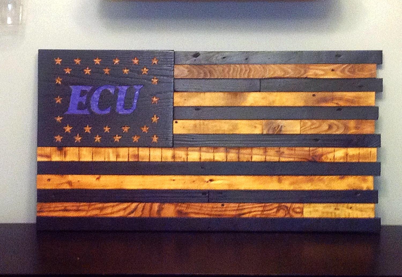 Ecu East Carolina University Wooden American Flag