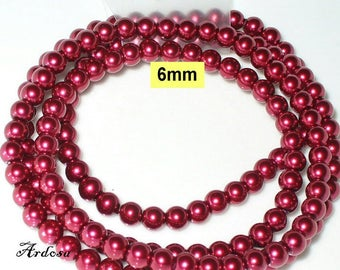 1 strand 82cm = 152 glass beads 6 mm crimsonrot (806.31.1)