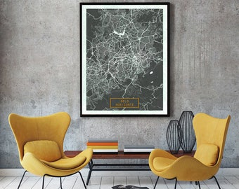 BELO HORIZONTE Brazil CANVAS Large Art City Map Belo Horizonte Brazil Art Print poster map art jt JackTravelMap