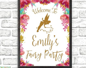 Fairy Birthday Party, Birthday Party Welcome Sign, Fairy Party Decorations, Gold Glitter Welcome Sign, Photo Props