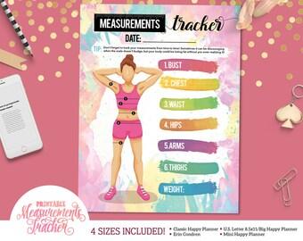 Printable Fitness Weight and Measurements Tracker  | For U.S. Letter Binders | Happy Planner | Erin Condren |  | Instant Download