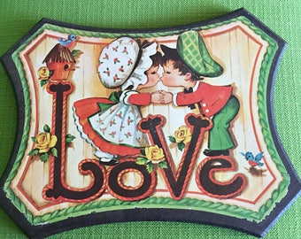 Vintage70s Love Wood Wall Decor/Hanging/Plaque Boy and Girl Kissing