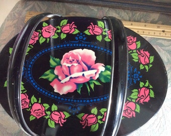 SALE! Vintage Tin Box, Black with Roses and Handles
