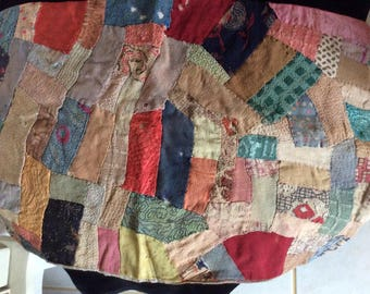SALE! Antique, 1800's Doll Quilt, Patchwork with Silk Backing, Very Good Condition for Age