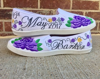 Custom painted wedding shoes