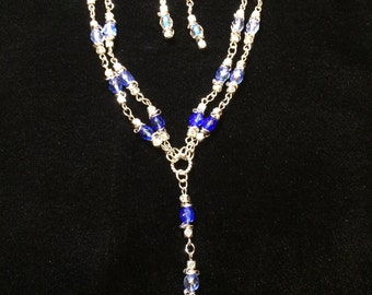 Blue Crystals Necklace and Earrings Set
