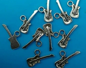 10x Silver Guitar Charms Music Instrument Antique tone musical 20x10mm Jewellery Making diy Jewelry Earring Bracelet Necklace supply UK