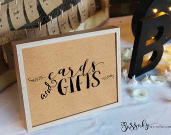 Cards & Gifts Poster - INSTANT DOWNLOAD - Printable Wedding Table Sign, Brown Paper, Modern Wedding Decoration, Wedding Poster, Wedding Art