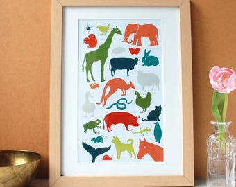Colourful animals print, perfect for a childs bedroom.