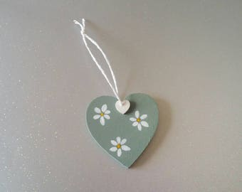 Hanging wooden heart decoration - heart ornament - hand painted decoration - hanging heart - home decoration - daisy flowers - mini heart