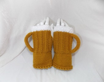 Gloves with beer mug,gloves,warm gloves,hand-knitted gloves,funny gift