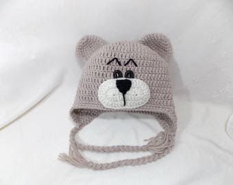 Little Mr Bear Beanie, Available in Newborn to 5 Years Size- MADE TO ORDER
