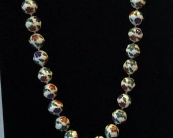 Vintage Cloisonné Beaded with Hand Knotted, Hand Painted Ceramic Beads