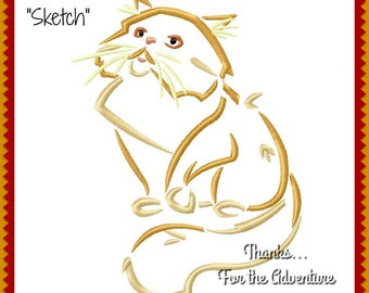 Crookshanks Hermione Granger's Cat from Harry Potter  Sketch Digital Embroidery Machine Sketch Design File 4x4 5x7 6x10