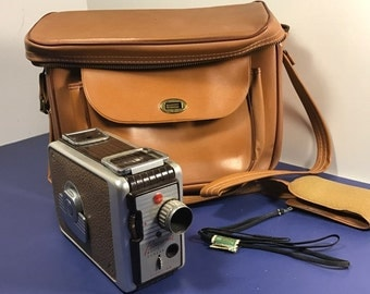 1950 VINTAGE BROWNIE CAMERA Lot Kodak movie photography leather case 8mm kodachrome Etalon