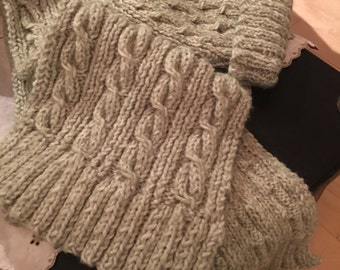 Irish cable scarf and hat