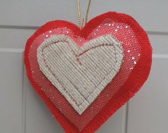 Hand made, love heart, christmas decoration.