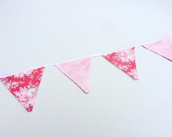Flower Fabric Bunting Banner, Flag Banner, Floral Print Bunting, Bridal Shower Decor, Baby Shower Banner, Nursery Decor, Birthday Bunting
