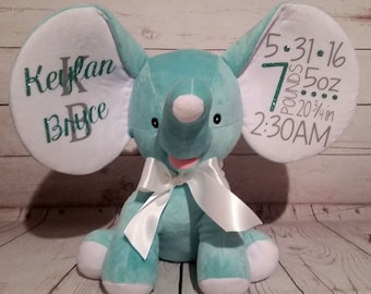 Plush Personalized Elephant / Birth Announcement / Baby Gift / Baptism