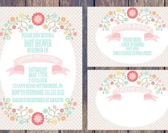 Polka Dot and Pastel Floral Baby Shower Invitation Package - Printable/Digital