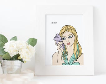 mermaid art, mermaid print, aquamarine print, bedroom art