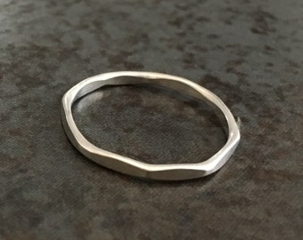 Fine silver ring 950 ‰ faceted / / octagonal / / graphic and minimal line