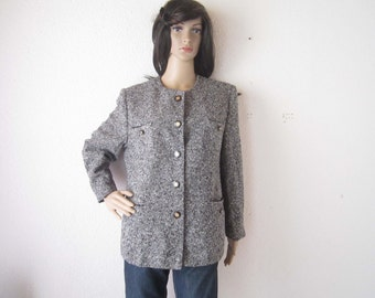 Vintage 80s Boucle coat jacket Blazer Peter Hahn wool M/L
