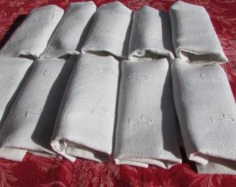 "Set 10 antique French damask cotton monogrammed table napkins mono ""LC"" c1900's"