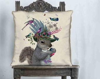 Squirrel pillow cover - Birdkeeper - Squirrel cushion Woodland animal pillow woodland pillow pink purple country home décor Animal Cushion