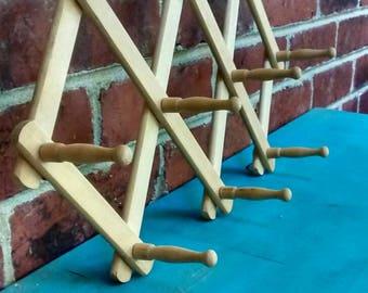 Folding coat rack diamond shaped accordion hook fold up wooden coat hook rack with ten pegs