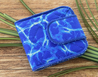 Folding Fabric Wallet in Brilliant Blue with Card Slots and Zipper Coin Purse, Quilted Vegan Wallet, Glittery Blue Tropical Fabric Wallet