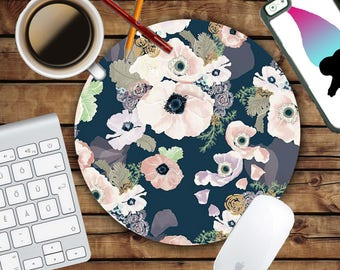 Blush and Navy Floral Mousepad - Mat - Round or Rectangle - Beautiful Design - Pink Print - Rose - Mouse pad Co worker Gift