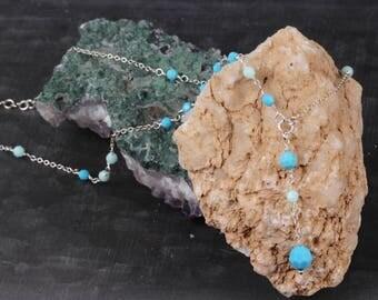 Swarovski Crystal Necklace, Tuorquoise Necklace, Beaded Necklace, Drop Necklace, Lariat necklace, Blue Necklace, Delicate Necklace