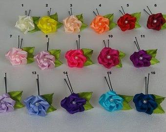 Decorative hair stick / Barrette kanzashi/Rose kanzashi/Fleur kanzashi/clip hair/Ribbon satin