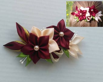 Barrette kanzashi red and beige/hair clip automaton/flowers kanzashi/clamp satin/ribbon satin