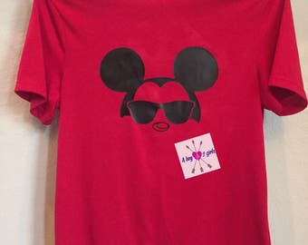 Mens- boys- girls- family Disney inspired Mickey Mouse- Minnie Mouse shirts with glasses