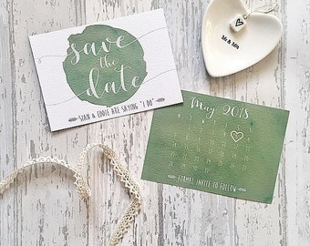 Personalised Calendar Watercolour Save The Date Cards