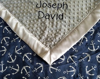 Nautical Baby Blanket, Personalized Baby Boy Blanket, Baby Boy Blanket, baby blanket with name, Satin Minky Blanket, Anchor baby Blanket