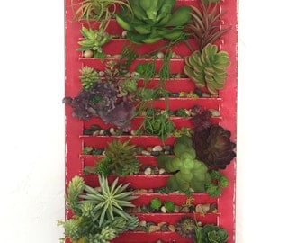 Artificial succulent wall hanging