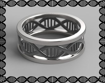 DNA ring, geek wedding ring, dna necklace