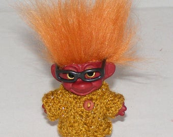 "BRAINIAC 2.5"" Red Troll Doll, New Eyes, Rust Faux Hair, Gold Sweater, Glasses"