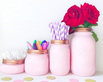 Makeup brush holder, Baby Pink Mason Jar, blush pink decor, copper, rose gold desk accessories, pen pot, mason jar vase, pink makeup storage