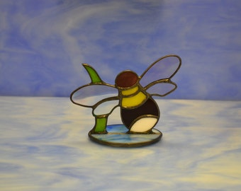 Stained glass Bee Suncatcher Decoration Hand made