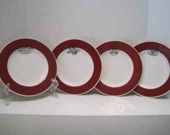 "Williams Sonoma 4 Red/White 9"" plates with Bakery and Jam Advertising"