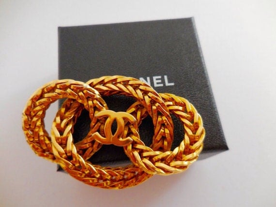 Authentic Chanel vintage gold plated metal brooch